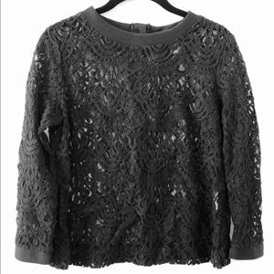 Banana Republic Black Button-Back Lace Blouse